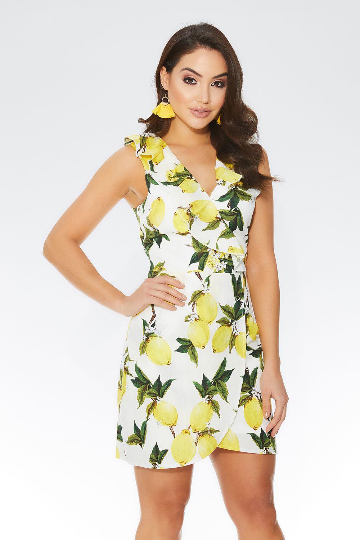 a888bd840e2 White   Yellow Lemon Print Dress – ShoppnShip